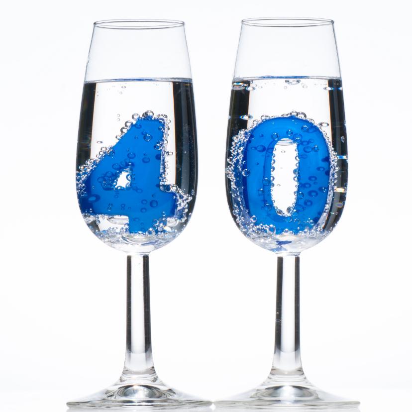 40 In Champagne Glazen Verjaardagskaarten Kaartje2go