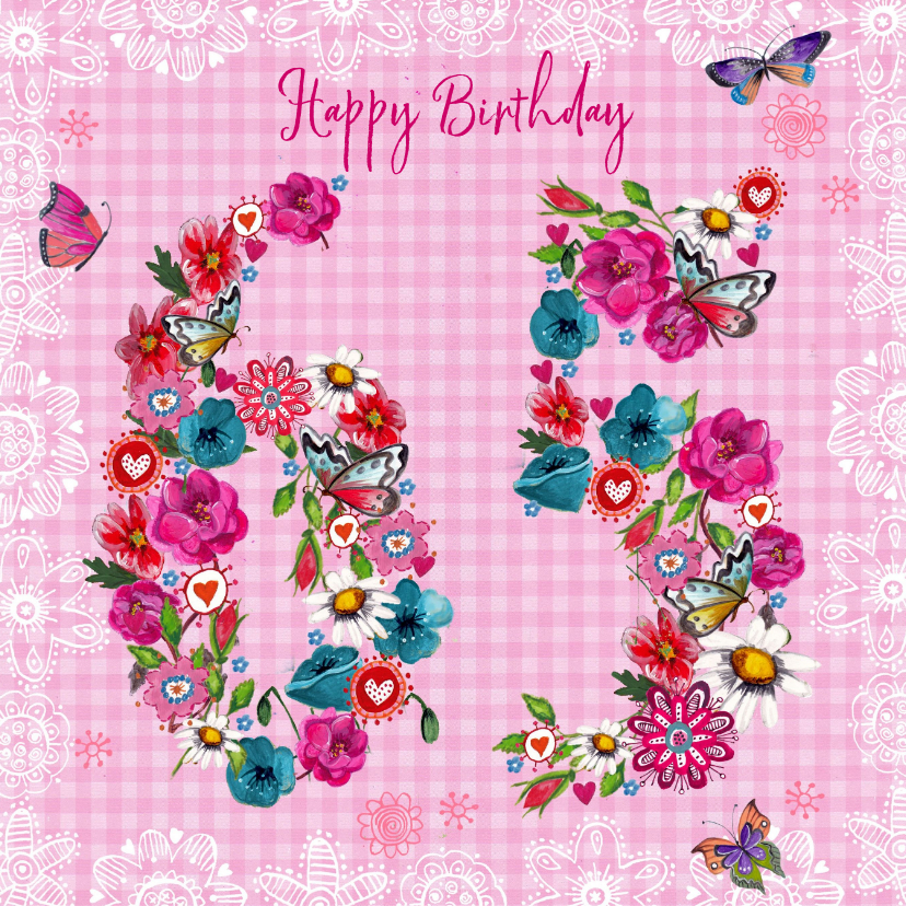 65 Jaar Verjaardag Bloemen Vrolijk Verjaardagskaarten