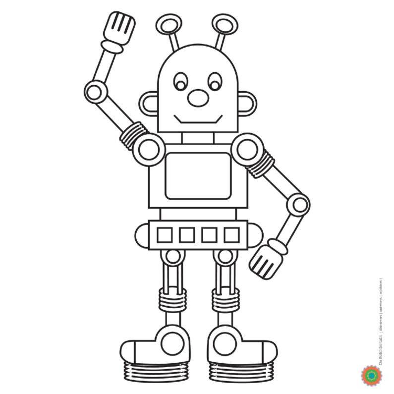 Zwaaiende Robot Wil Kleur Kleurplaat Kaarten Kaartje2go