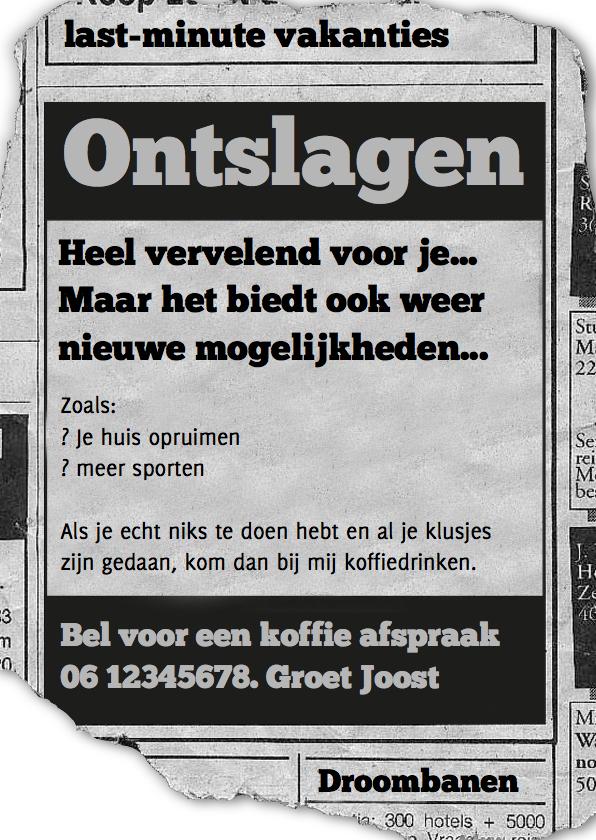 Ansichtkaarten - Advertentie ontslagen