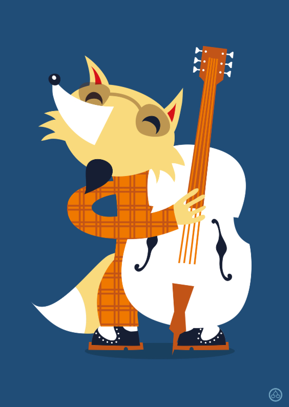 Ansichtkaarten - Bass player fox