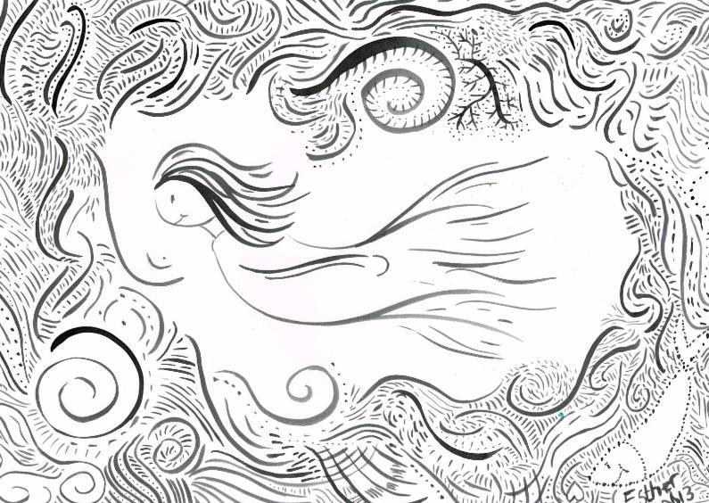 Ansichtkaarten - Elfje zwemt in de rivier