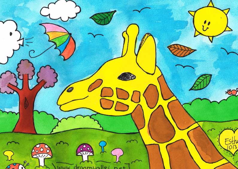 Ansichtkaarten - Giraf in de storm dubbele kaart