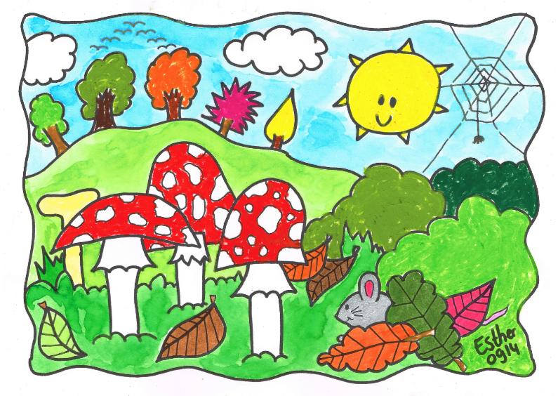Ansichtkaarten - Herfst paddenstoelen