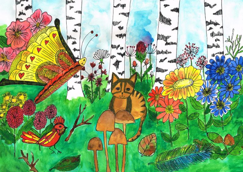 Ansichtkaarten - Kat in het bos