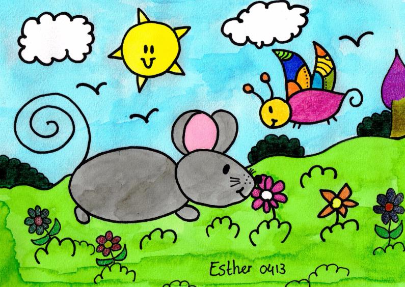 Ansichtkaarten - Muis en bloem in de wei met vlinder