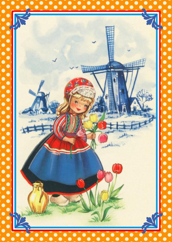 Ansichtkaarten - Oud Hollands Boerin met klompen
