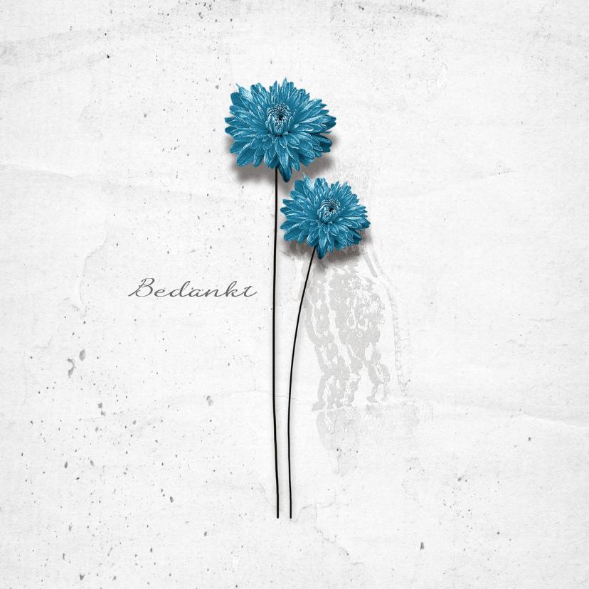 Bedankkaartjes - Bedankkaart Bloemen Blauw