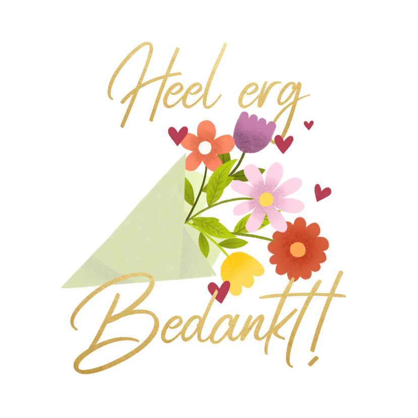 Bedankkaartjes - Bedankkaart bos bloemen Heel erg bedankt