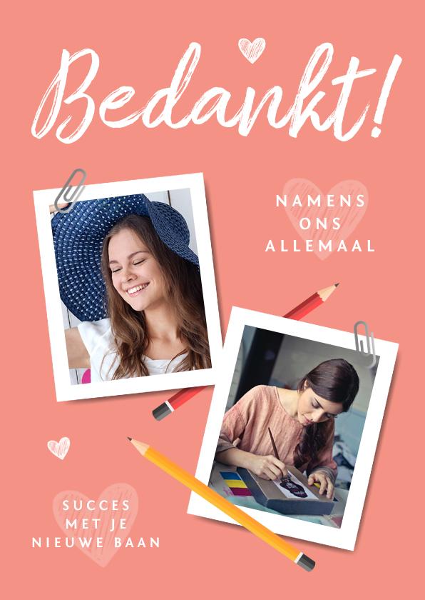 Bedankkaartjes - Bedankkaart creatieve nieuwe baan bedankt collega