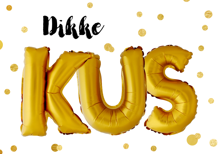 Bedankkaartjes - Bedankkaart dikke kus gouden ballonnen