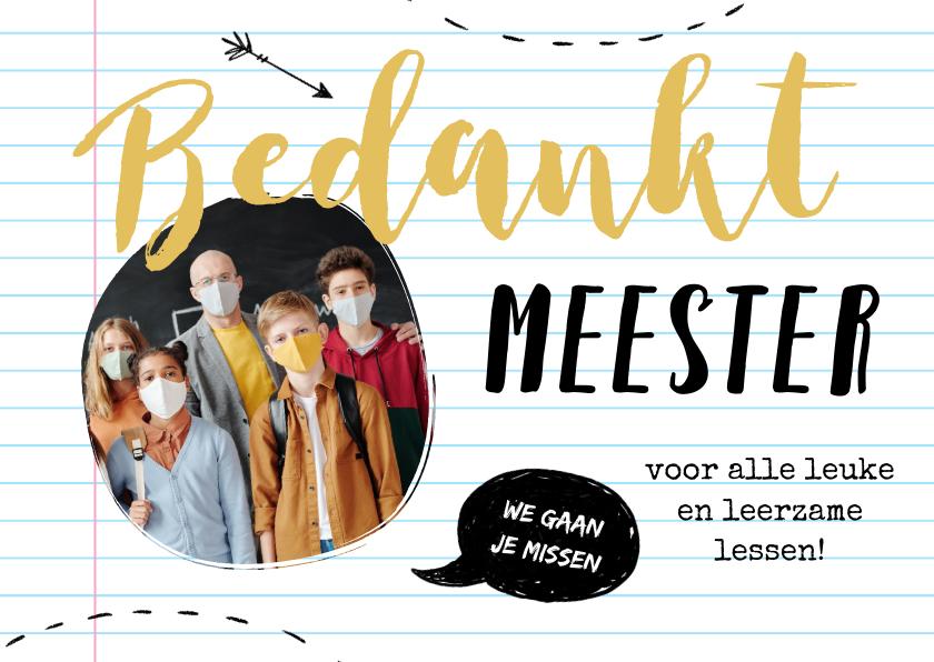 Bedankkaartjes - Bedankkaart docent meester foto papier doodle
