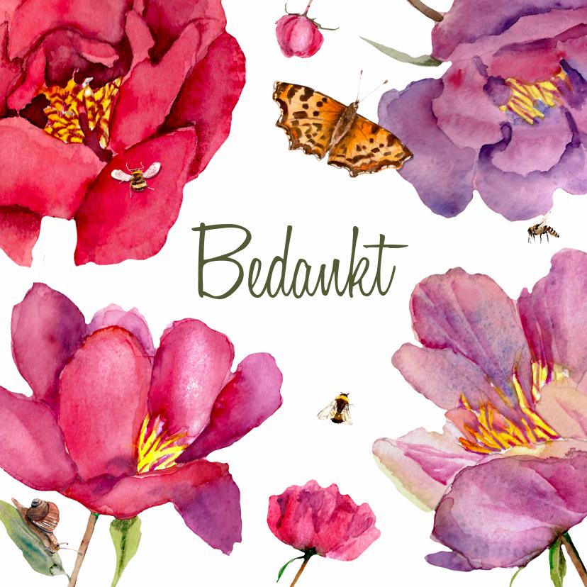 Bedankkaartjes - Bedankkaart Grote fleurige bloemen