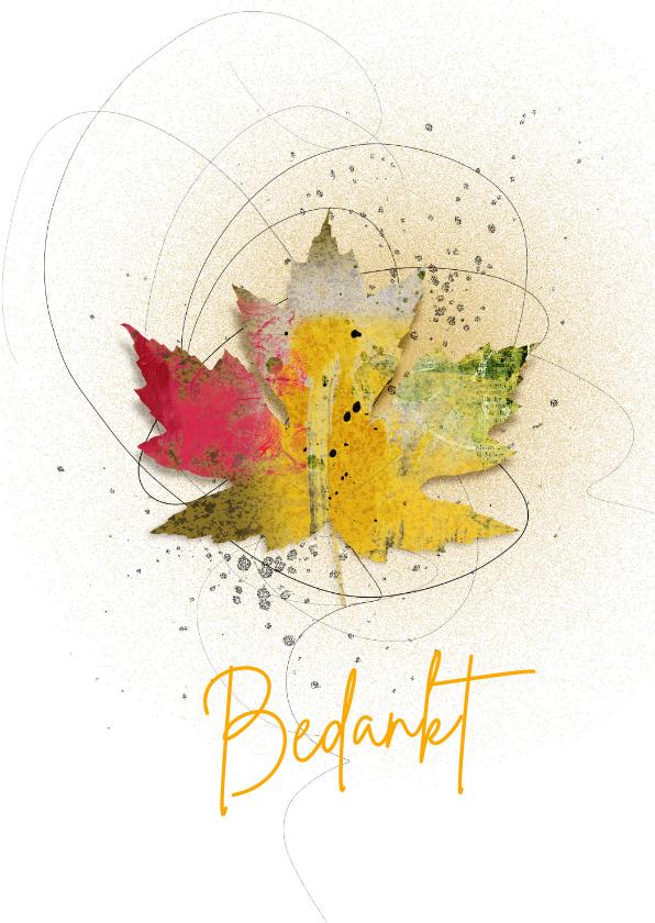 Bedankkaartjes - Bedankkaart herfstblad in kleur