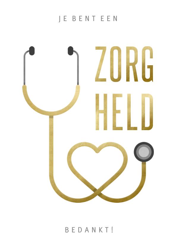 Bedankkaartjes - Bedankkaart hulpverlener zorgheld stethoscoop hart