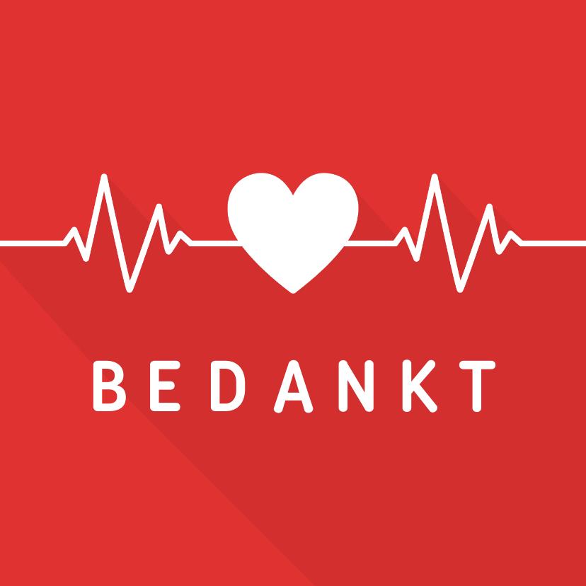 Bedankkaartjes - Bedankkaart hulpverleners hart met hartritme