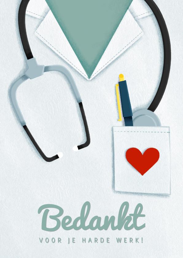 Bedankkaartjes - Bedankkaart hulpverleners stethoscoop verpleger