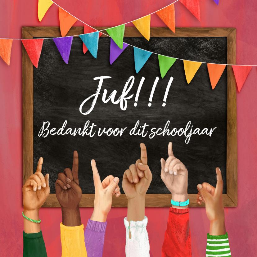 Bedankkaartjes - Bedankkaart juf opgestoken vingers voor een schoolbord