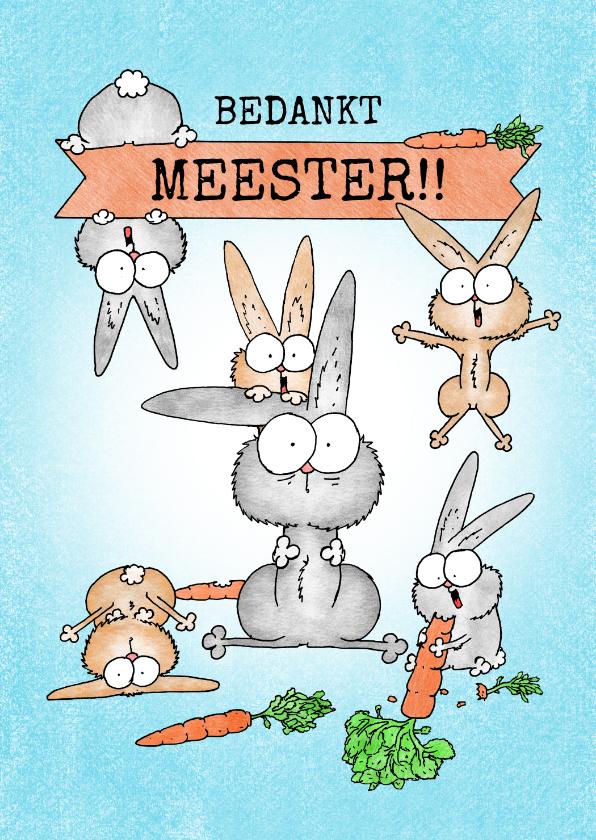 Bedankkaartjes - Bedankkaart meester/juf - leraar konijn met veel konijntjes