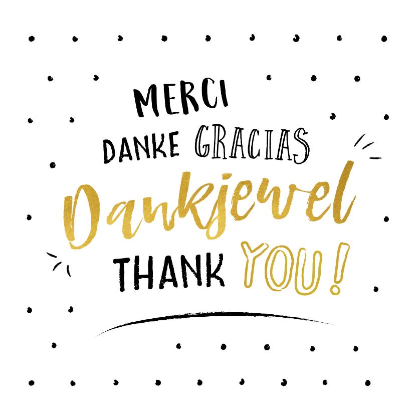 Bedankkaartjes - Bedankkaart met bedankt is verschillende talen
