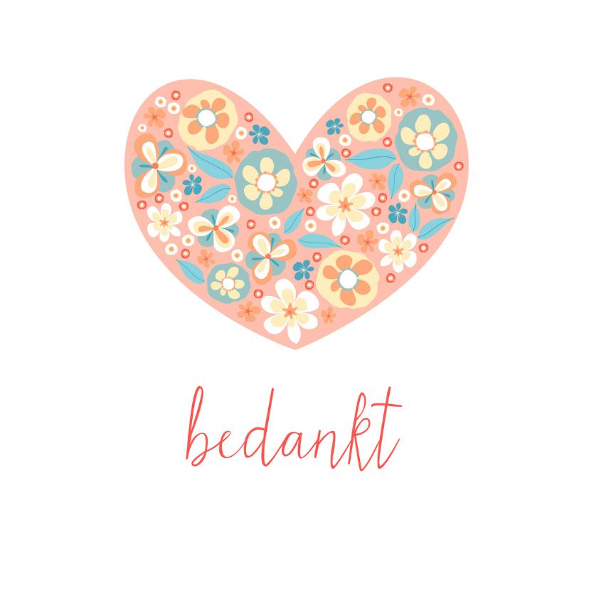 Bedankkaartjes - Bedankkaart met bloemenhart