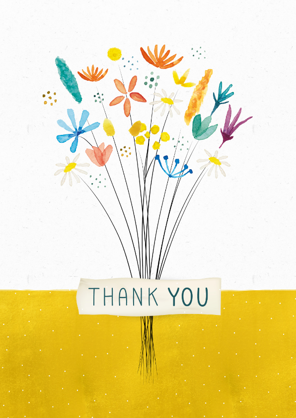Bedankkaartjes - Bedankkaart met boeket bloemen 'thank you'