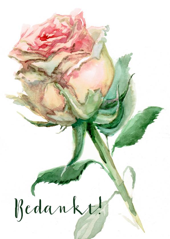 Bedankkaartjes - Bedankkaart met geschilderd roze roos