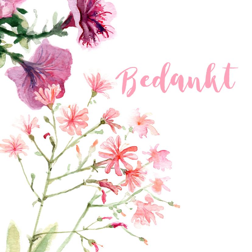 Bedankkaartjes - Bedankkaart met geschilderde bloemen