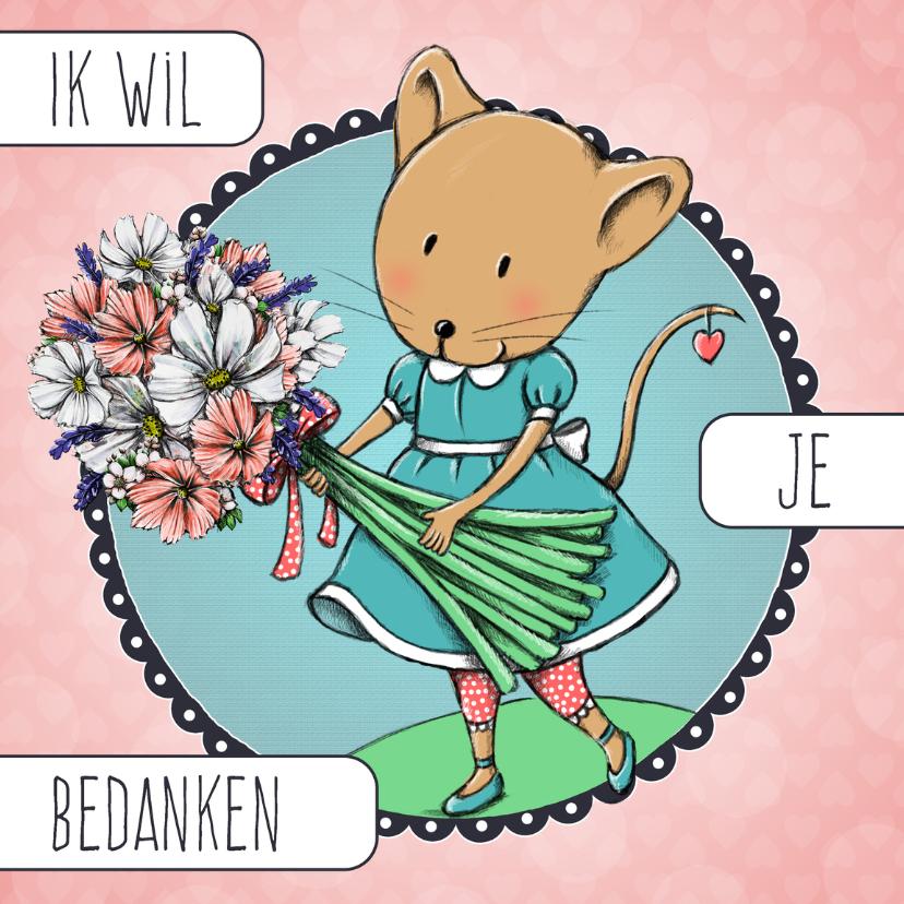 Bedankkaartjes - Bedankkaart muis bloemen - IH