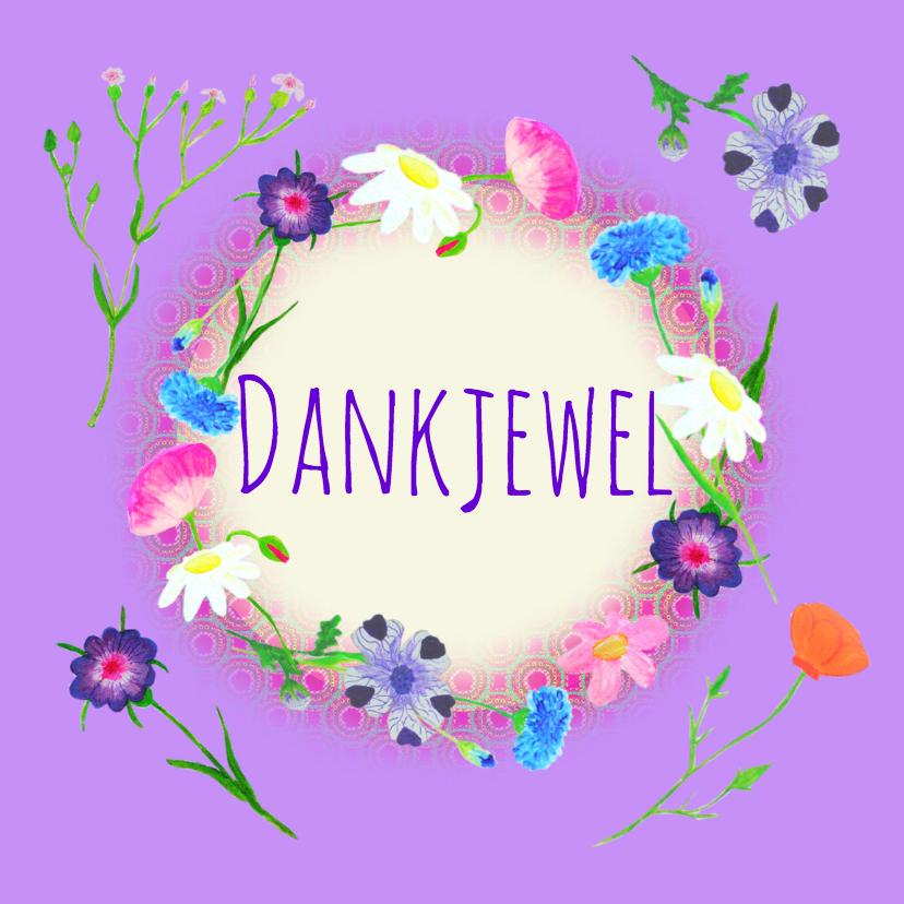 Bedankkaartjes - Bedankkaart paarse bloemen PA