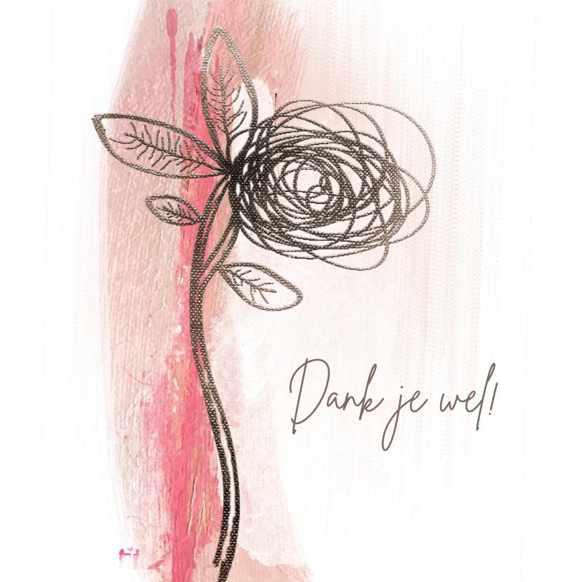 Bedankkaartjes - Bedankkaart sketch bloem op roze