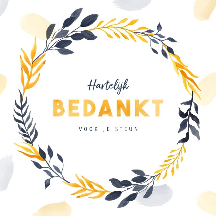 Bedankkaartjes - Bedankkaart stijlvol geel en blauw met blaadjes en verf
