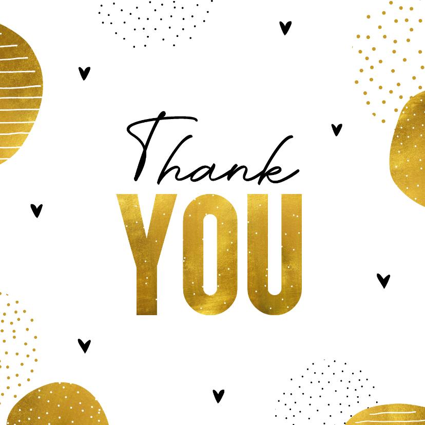 Bedankkaartjes - Bedankkaart 'Thank you' goudlook