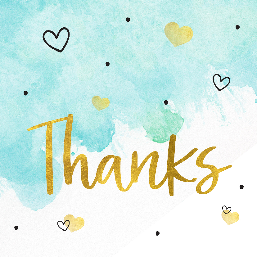 Bedankkaartjes - Bedankkaart -thanks aquarel hartjes