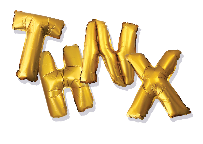 Bedankkaartjes - Bedankkaart thanks goud