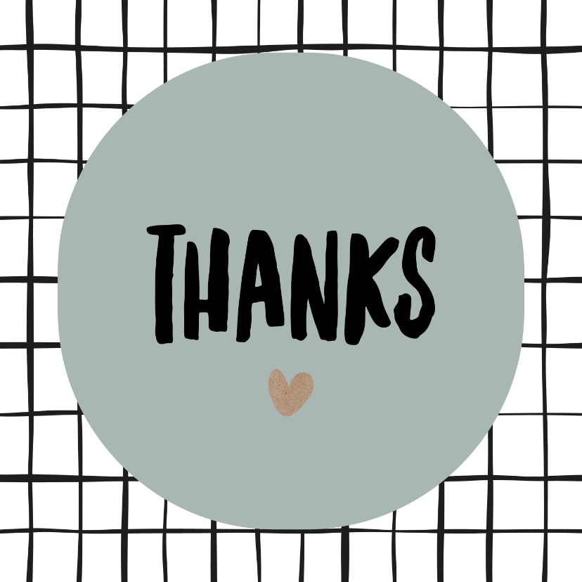 "Bedankkaartjes - Bedankkaart ""Thanks"" grid"