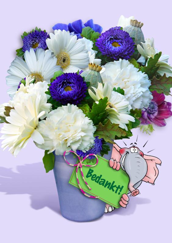 Bedankkaartjes - Bedankkaart vaas met bloemen en olifant Bedankt