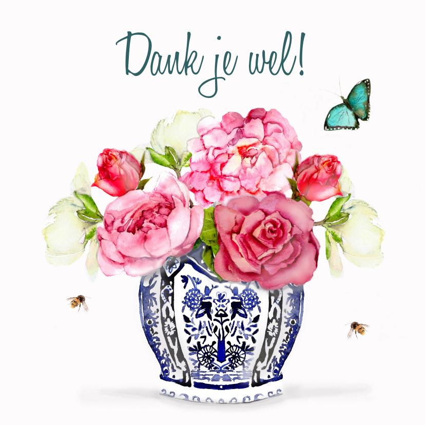 Bedankkaartjes - Bedankkaart Vaas met bloemen