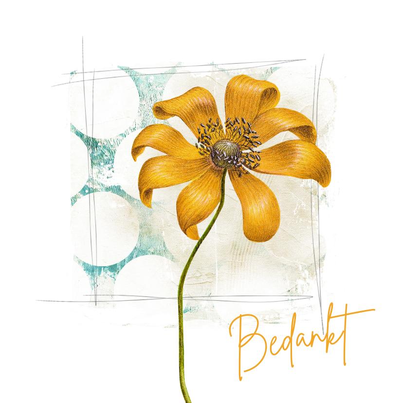 Bedankkaartjes - Bedankkaart vierkant gele bloem