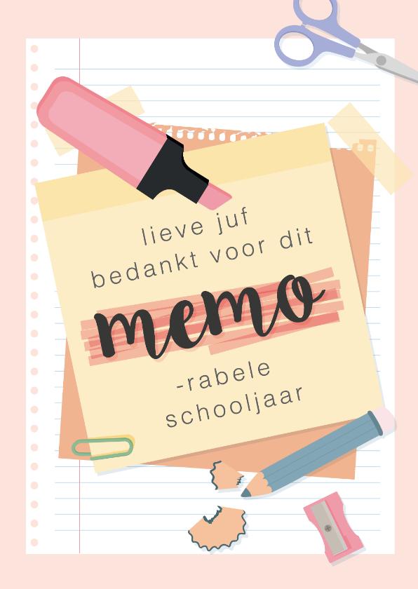 Bedankkaartjes - Bedankkaart voor de juf voor een 'memorabel' schooljaar.