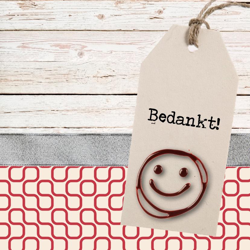 Bedankkaartjes - Bedankkaartje hout met smile