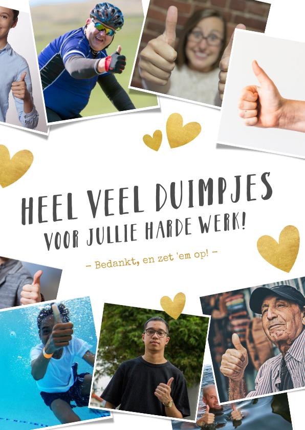 Bedankkaartjes - Bedankkaartje hulpverleners duimpjes omhoog foto's