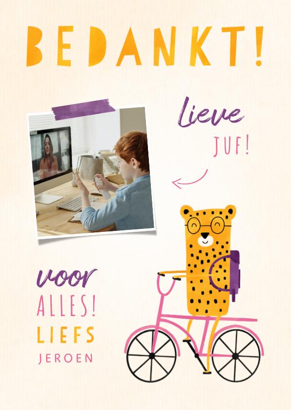 Bedankkaartjes - Bedankkaartje juf luipaardje op fiets met foto