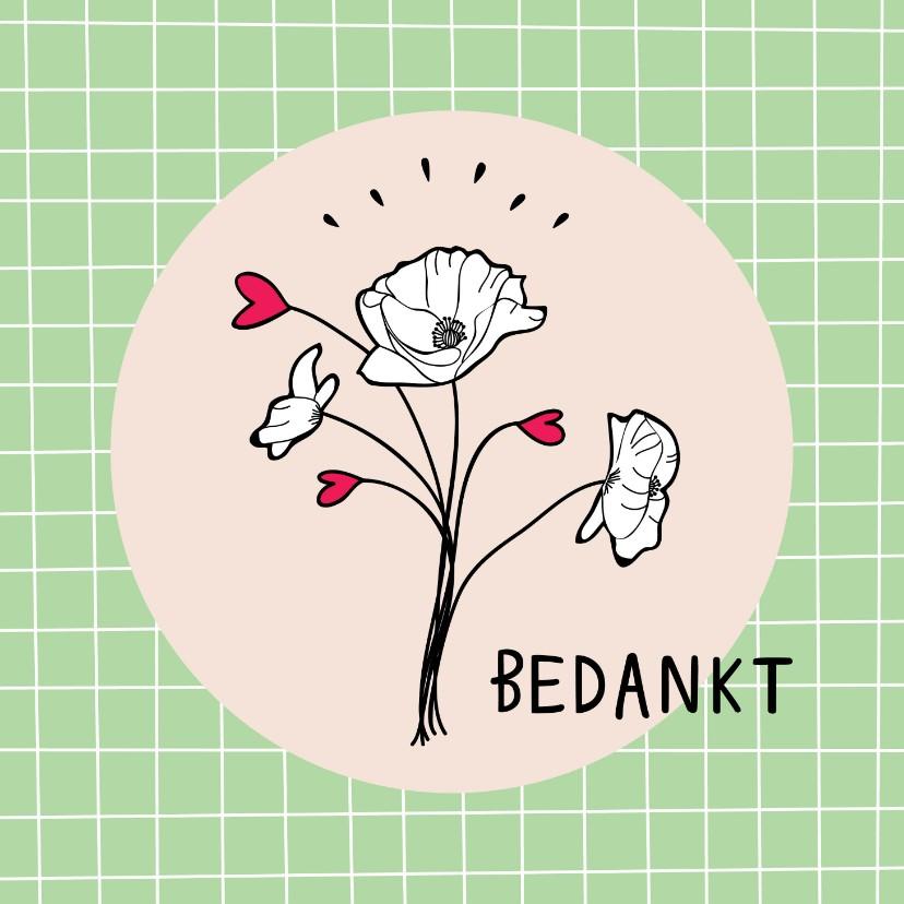 Bedankkaartjes - Bedankkaartje met illustratie bosje bloemen