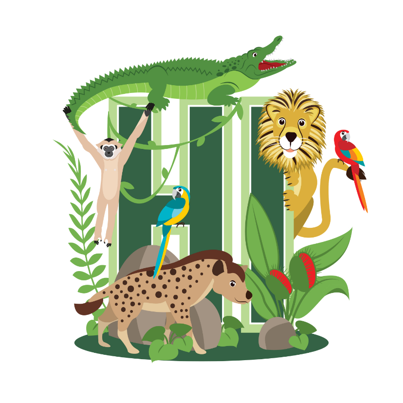 Bedankkaartjes - Bedankkaartje met stoere jungledieren die hi zeggen