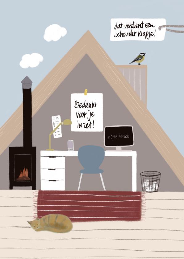 Bedankkaartjes - Bedankkaartje thuiswerken zolderkamer