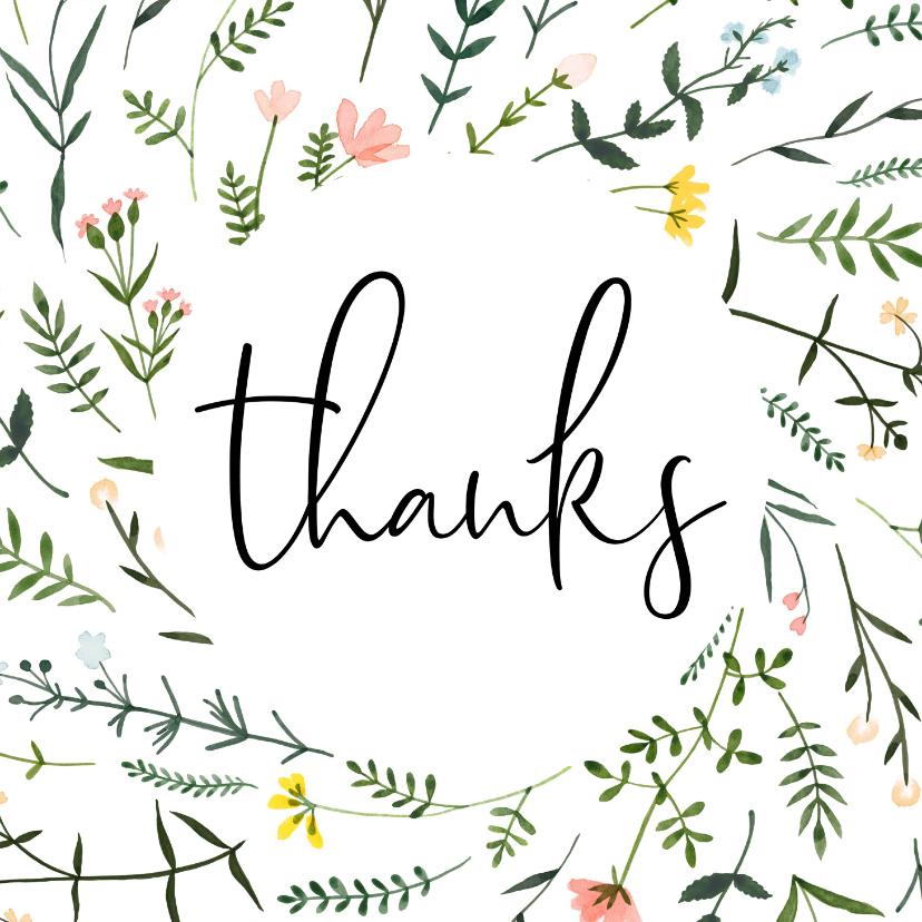 Bedankkaartjes - Bedankkaartjes | Thanks, wilde vrolijke bloemen