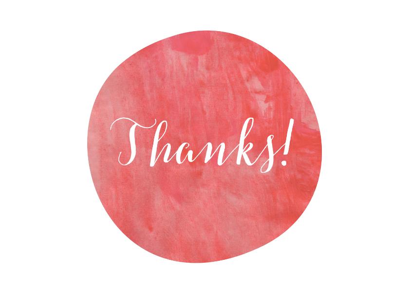 Bedankkaartjes - Bedankt aquarel roze