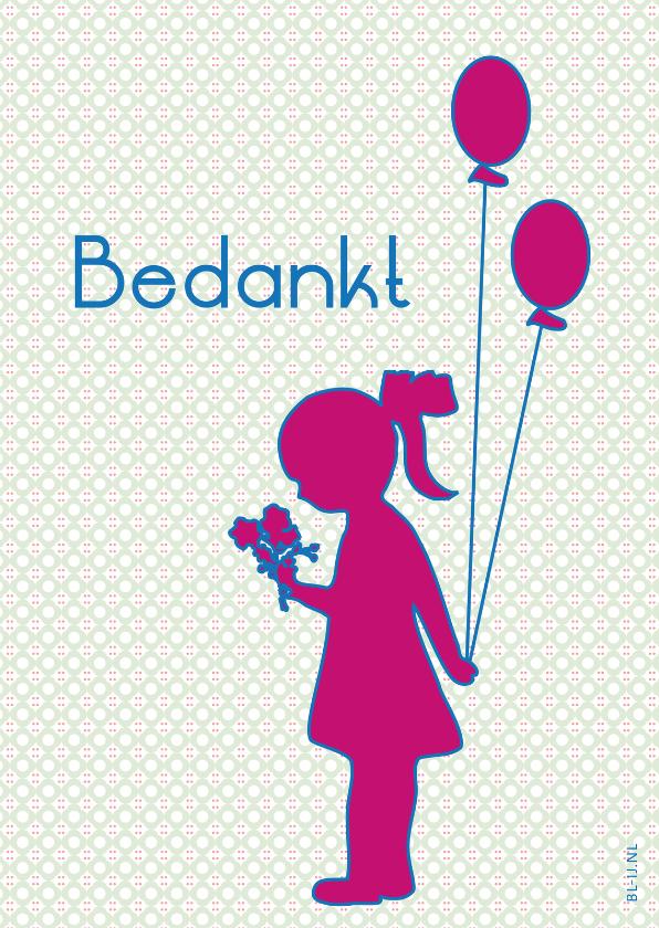 Bedankkaartjes - Bedankt ballonnen meisje