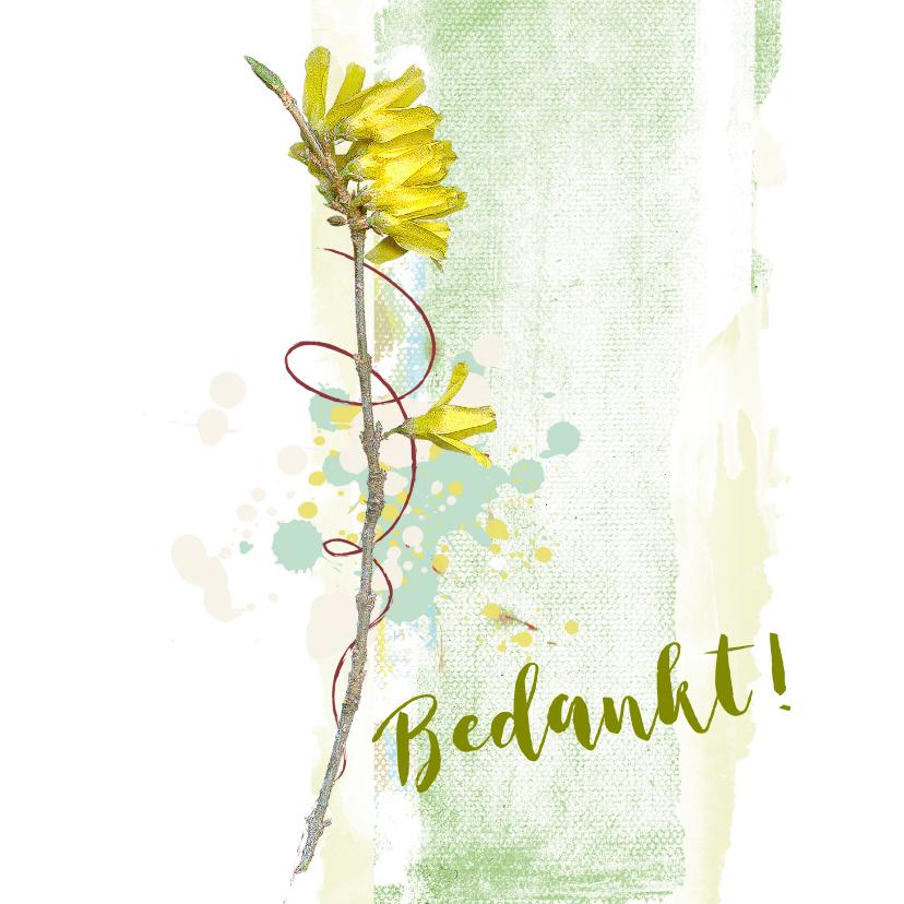 Bedankkaartjes - Bedankt bloem gele winterjasmijn